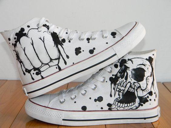 Cool Fashion Skull Design Custom Converse Chuck Taylors. $80.00, via Etsy.