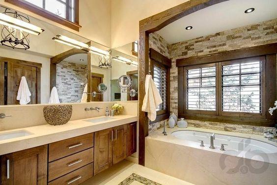 zatif taş duvar banyo dekorasyonu