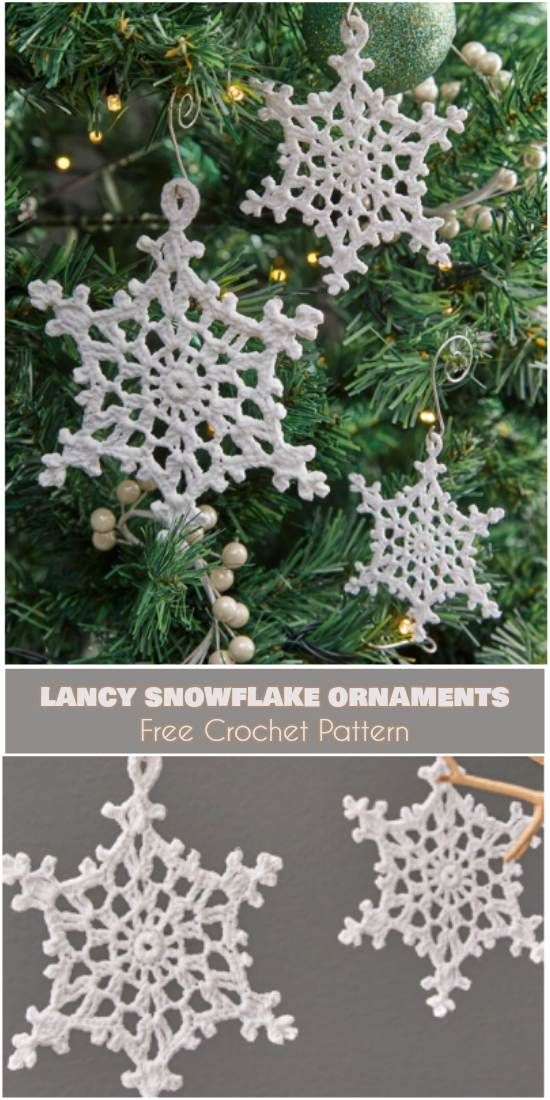 Beautiful Lacy Snowflake Ornaments Free Crochet Pattern Christmas Snowflakes Decorations Crochet Christmas Trees Ornaments Christmas Snowflakes Pattern