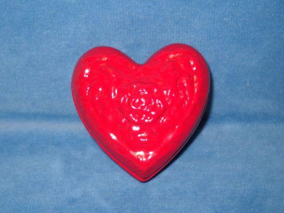 "Vintage Red Heart Shape Rose Ceramic Dresser Jar Jewelry Dish Trinket Box 3"" x2"""