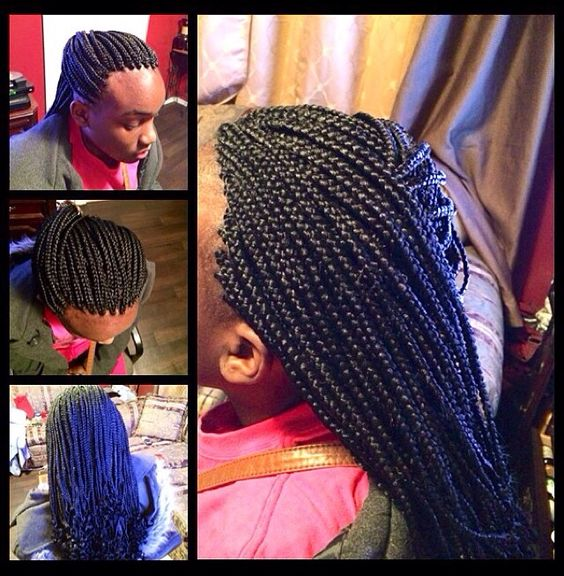 Small W Pinched Edges Box Braids W Curly Ends Small