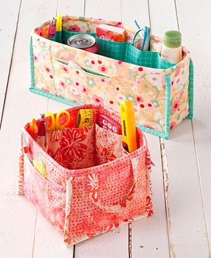fabric baskets with pockets inside #crafts