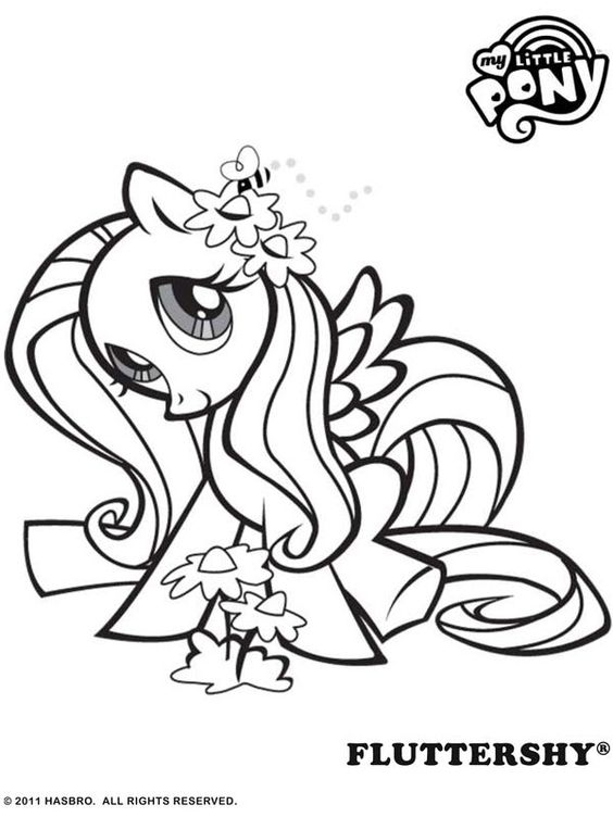 Free Online My Little Pony - Fluttershy Colouring Page
