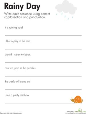 Printables Correcting Grammar Worksheets fix the sentences rainy day activities it is and fun second grade grammar punctuation worksheets day