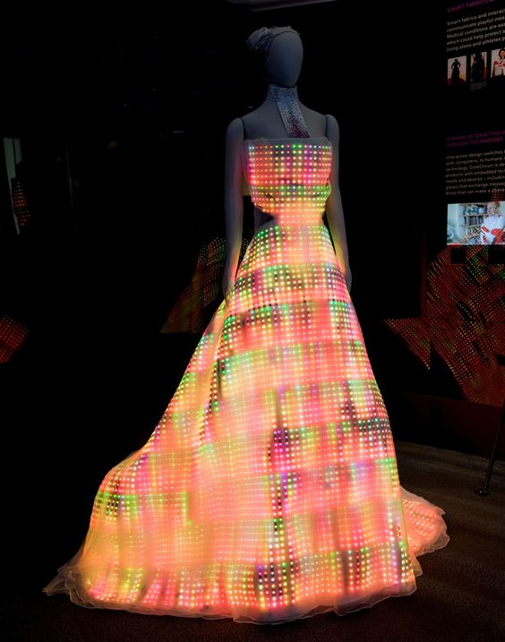 The Galaxy Dress, made of LED lights.  Chicago Museum of Science and Industry.