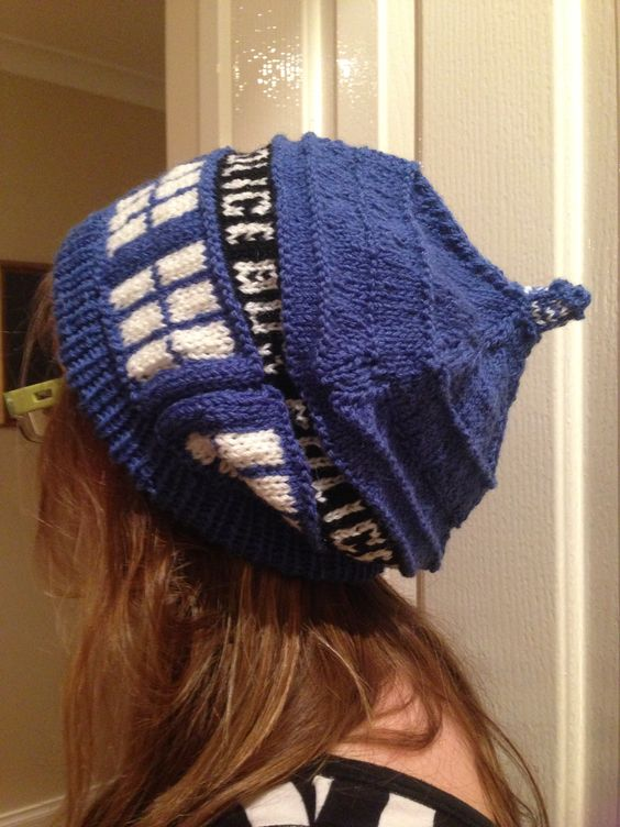 Knitting Pattern Tardis Hat : Tardis knitted slouch beanie made by me, pattern from ravelry, absolutely lov...