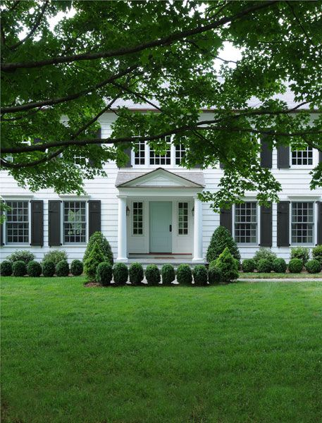 classic white house black shutters