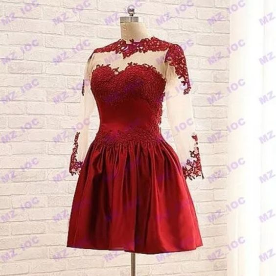 Red homecoming dress ❤️ Super cute red homecoming/ prom dress. Never worn. Lace detailing and see through mesh sleeves and back. Dresses