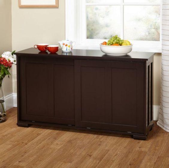 Espresso Sideboard Buffet Cabinet Stackable Storage Doors Kitchen Dining Decor