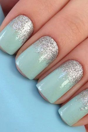 Wedding palette for the fabulous bride! Aqua and silver nails: