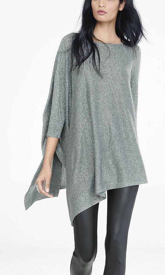 Metallic Extreme Asymmetrical Tunic Sweater | Express
