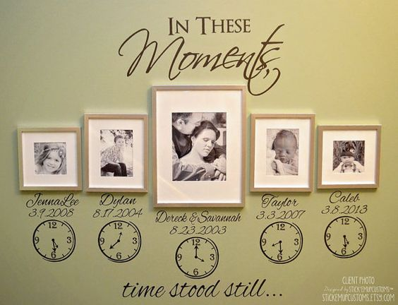 in these moments time stood still names dates clocks wall decal 37 liked on polyvore featuring home home decor wall art black home living