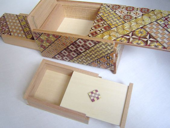 Japanese Puzzle box (Himitsu bako)- 6inch(150mm) Open by 10steps with Hidden Drawer & Nested box. $93.00, via Etsy.