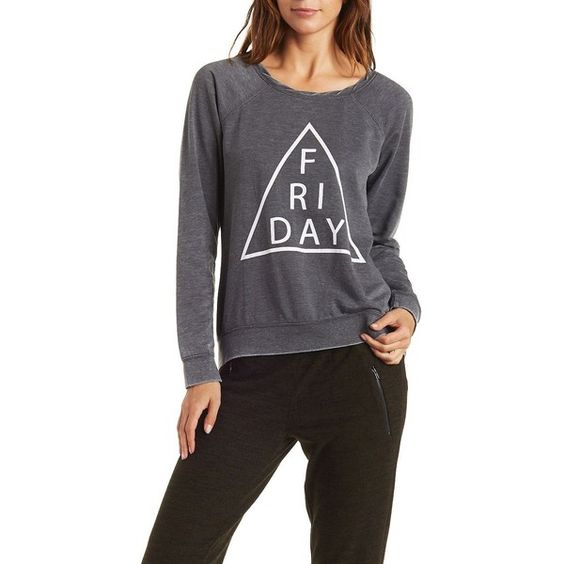 Charlotte Russe Charcoal Crew Neck Graphic Pullover by Charlotte Russe... ($20) ❤ liked on Polyvore featuring tops, sweaters, charcoal, graphic crew neck sweaters, crew neck shirt, crew neck pullover sweater, black crew neck shirt and long black sweater