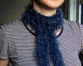 Knitting Pattern PDF for - Beaded Loop Scarf, a glamorous,handknitted, looped, beaded scarf in fine mohair