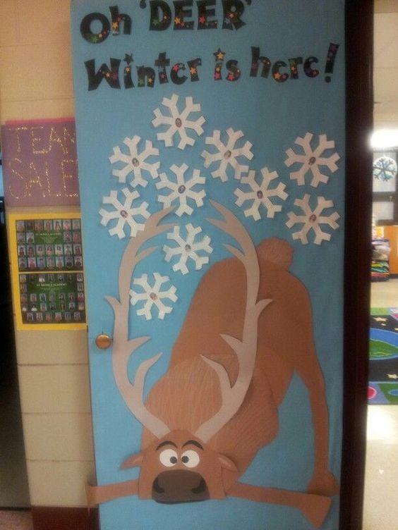 frozen bulliten boards | Frozen Sven winter door decoration
