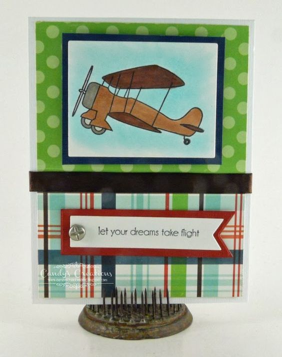 Candy Slabaugh creates an airplane card featuring #TayloredExpressions #Echo Park