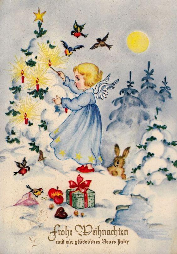 AK, WEIHNACHTEN, Engel im Winterwald entzündet Kerzen auf Tannenbaum, gel. 1962*