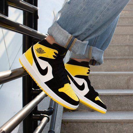 jordan 1 mid yellow toe