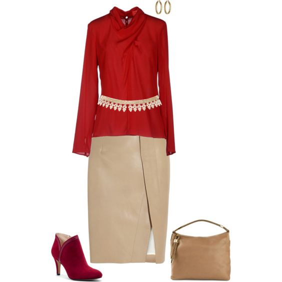 """Red & nude"" by julietajj on Polyvore"