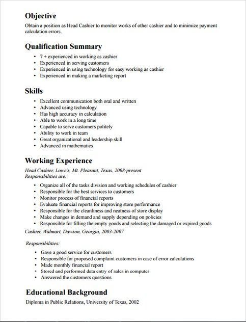 Mounika (sireeshp007) on Pinterest - cashier resume