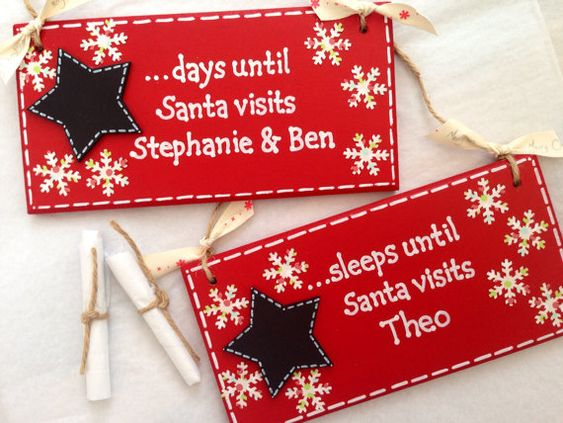 A beautiful handmade Countdown to Christmas Advent Plaque. Children are waiting for one person to visit and thats Santa. Painted in red and reads
