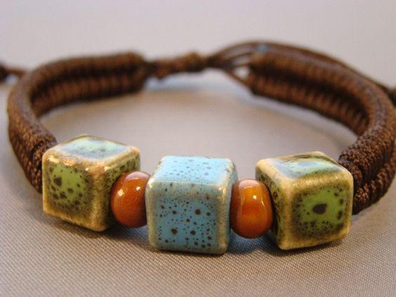 eBracelets Green & Blue Ceramic Squares Nylon Bracelet Charm, Leather, Wrap Bracelets