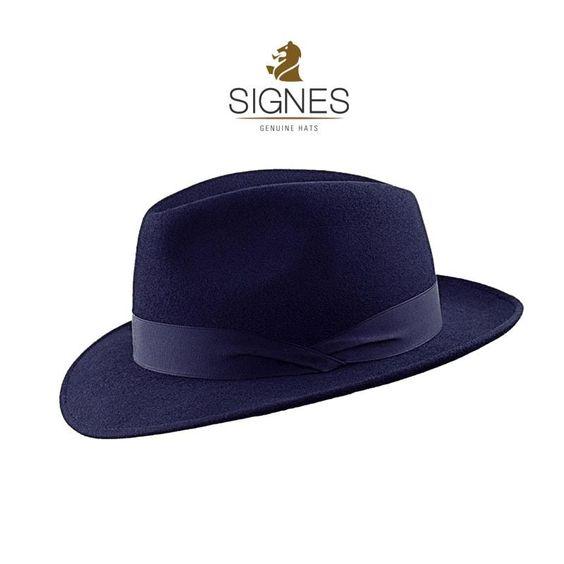 Sombrero Signes ala corta fieltro azul