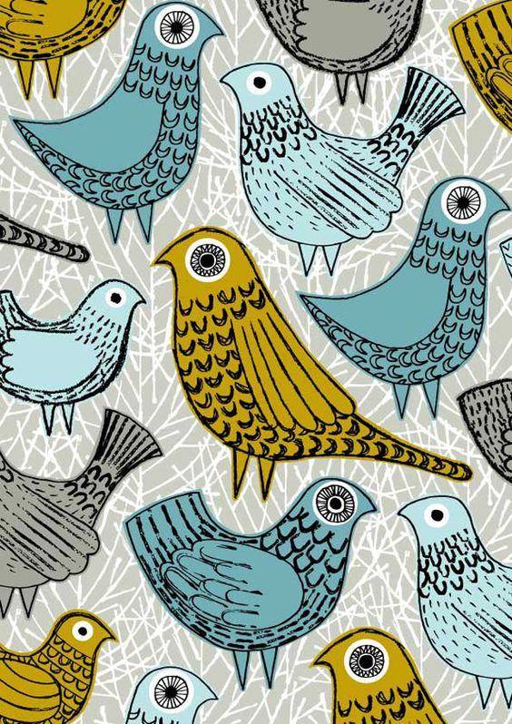 Eloise Renouf. great scandi style folklore , folk art relief pattern print of bird design illustrations make a great soft furnishing fabric design