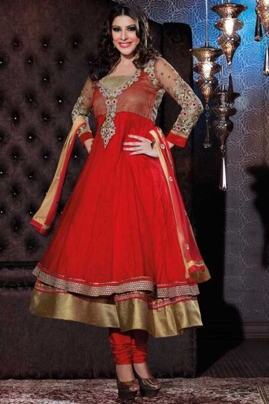 Venetian Red Faux Georgette and Satin Embroidered Anarkali Kameez