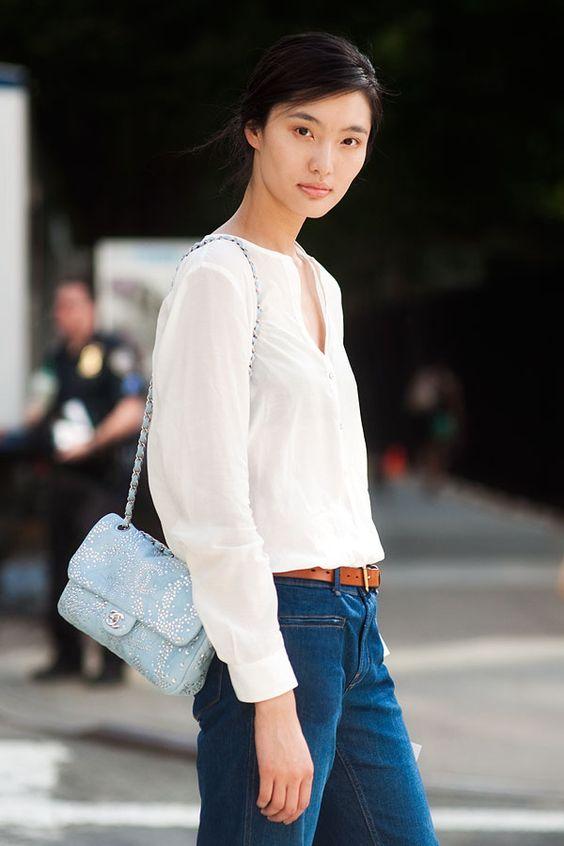 classic denim + blouse + chanel
