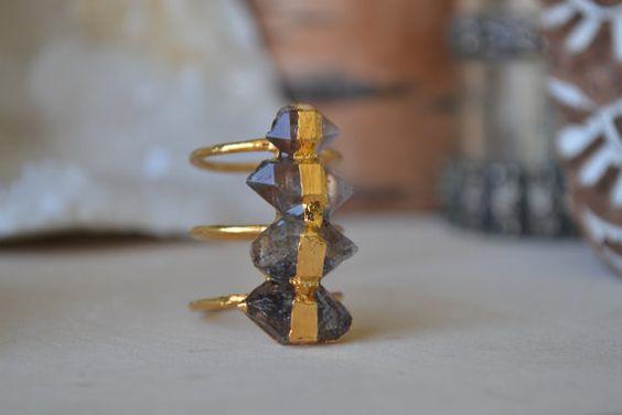 Smokey Herkimer Ring /// 24kt Gold Electroformed /// by luxdivine