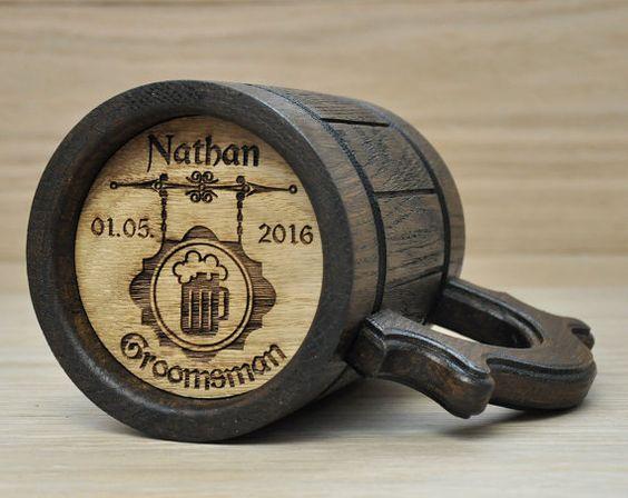 Personalized wooden beer mug. Groomsmen gift, Beer tankard, Personalized Best…