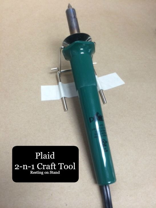 Plaid has this really cool craft tool ... called 2-n-1 Craft Tool!  It's both a wood burning tool as well as a stencil burner all wrapped in one handy dandy package!