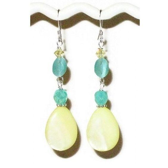 Lemon Chiffon Yellow and Aqua Earrings (£20) ❤ liked on Polyvore featuring jewelry, earrings, aqua earrings, lemon jewelry, yellow jewelry, beaded jewelry and bead jewellery