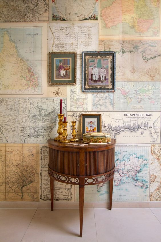 What a fantastic idea!!! Wallpaper & Travel Decorations ~ for my office maybe?