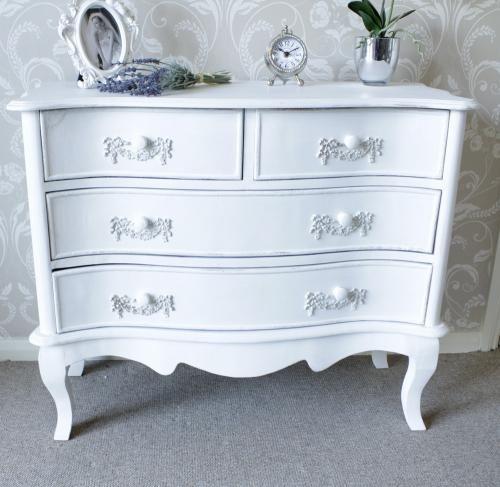Antique White 4 Drawer Chest Of Drawers Pays Blanc Range
