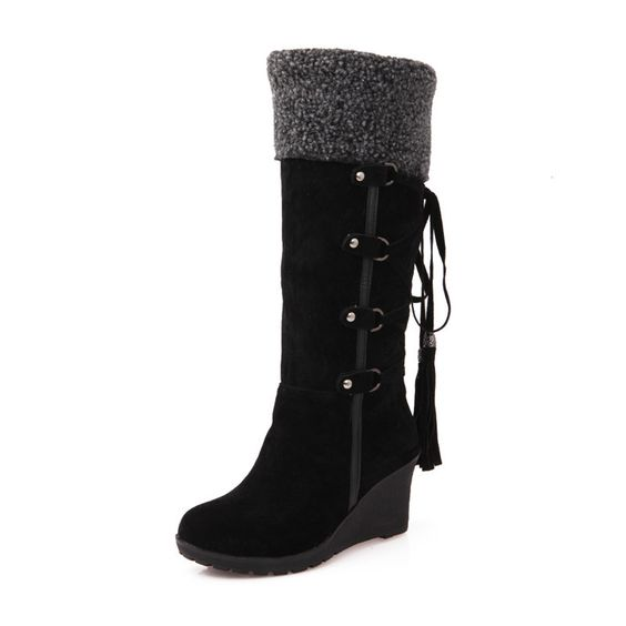 Fashion Scrub Plush Snow Boots Women Wedges Knee-high Slip ...