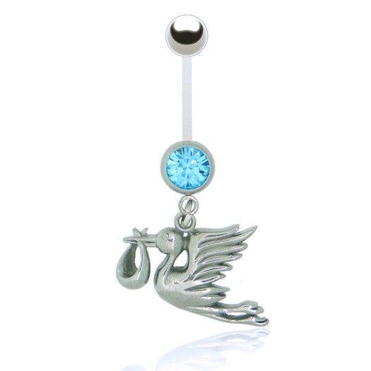 Gardez votre piercing, bijou piercing nombril cigogne pour femme enceinte avec barre flexible bioplast confortable à porter pendant la grossesse.