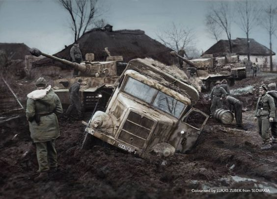 Stuck in the mud- Germans trying to refuel a Panzer tank column. Miroslaw, Serba.