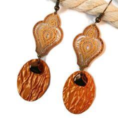 Boucles d'oreilles légères orientales nespresso  - perles en verre - breloques - or - bronze - orange