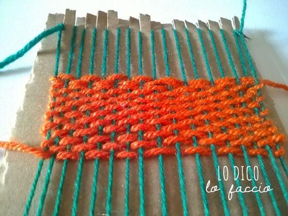 Come fare un telaio di cartone e un sottotazza senza cucire #telaio di #cartone http://www.lodicolofaccio.it/2015/06/piove-e-noi-facciamo-la-catapulta-idea-estate-bambini.html#more