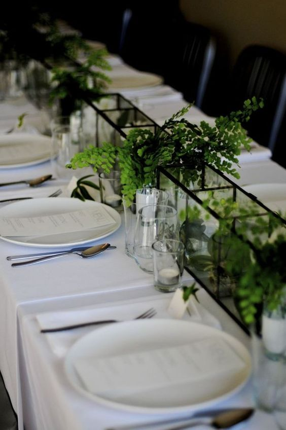Modern centerpiece - linear green and white: Terrarium Wedding Centerpieces #wedding #centerpieces