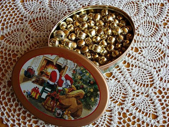 Collectible Christmas Tin & 151 Jingle Bells Supply Gold Toned