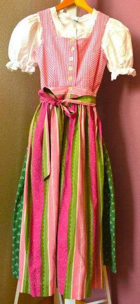 Hammerschmid Dirndl Tracht pink grün weiß 140