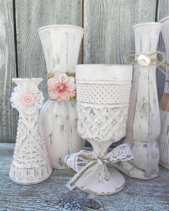 Shabby Chic Rustic Wedding Ideas: Burlap And Lace Pink Shabby Chic Vase Collection, Wedding