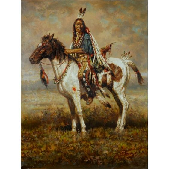 Indian Warrior With Totem Horse Western Oil Painting for sale on overArts.com