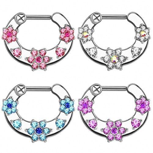 Septum Piercing Clicker Nasenpiercing Ring Kristall Blüten