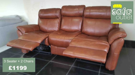 Designer Brown Leather 3 seater + 2 chairs (70) £1199  #RePin by AT Social Media Marketing - Pinterest Marketing Specialists ATSocialMedia.co.uk
