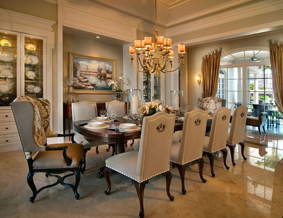 Residential projects p interiors dream home for Traditional dining room color ideas